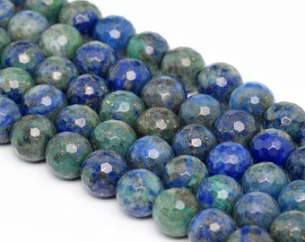 """8MM Faceted Azurite Natural Gemstone Full Strand Round Loose Beads 15"""" (101181-335)"""