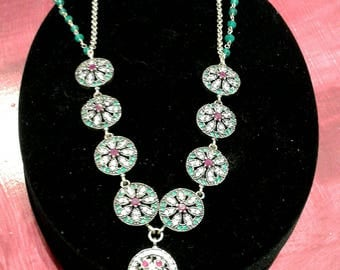 Ruby and Emerald silver necklace