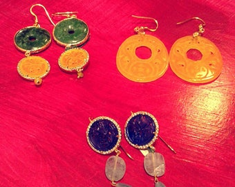 Silver earrings and colorful agates