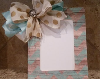 Teal chevron picture frame with handmade bow