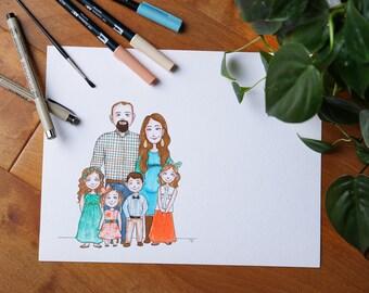 Custom Pen & Watercolor Portrait