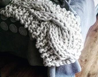 Chunky knit, chunky knit throw, cable knit, chunky cable, extreme knit, chunky merino, super chunky, extremo merino, wedding gift idea