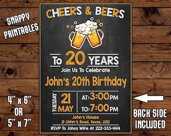 20th Birthday Invitation For Men, Birthday Invite, Party Invite, Printable, Digital File - 022