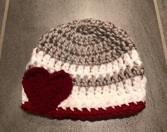 Infant/Toddler crochet hat with heart