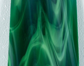 """Emerald Green Stained Glass Sheet of Dark Green and White Spectrum #327-6S, 4"""" X 8"""" Solid Sheet of Translucent Green Stained Glass"""