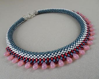 America The Beautiful Bead Crochet Necklace