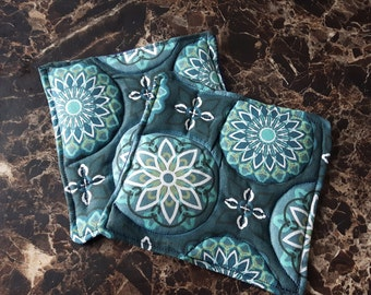Set of 2  Green Quilted Coasters