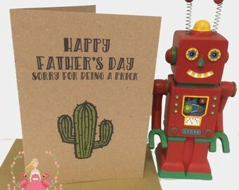 Sorry For Being a Prick Father's Day Card | Cheeky Father's Day Card | Dad's Day | Cacti | Cactus