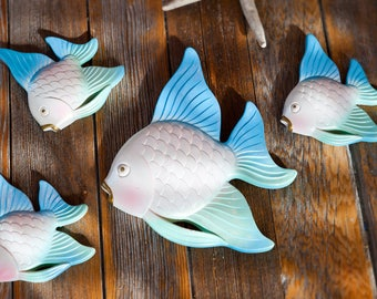 Chalk Ware Fish Set of 4