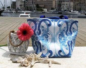 Bag printed faux leather decor Sicilian ceramics faux leather bag