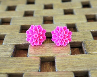 Hot Pink Dahlia Flower Stud Earrings