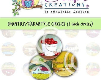 "Country/Farmstyle Digital Collage Sheet 1"" Circles"