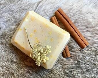 Cinnamon Orange Handmade Soap // Cold Process // All Natural // Mildly Exfoliating Bar