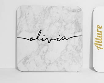 Personalised White Marble Coaster Name Personalised Gift Marble Print Coaster Name Coaster