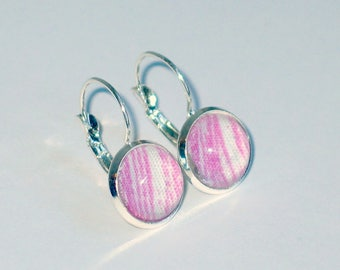 Earrings, lever back  - 12mm glass domed, cabochon - pretty spink and white stripes. Mothers day gift!