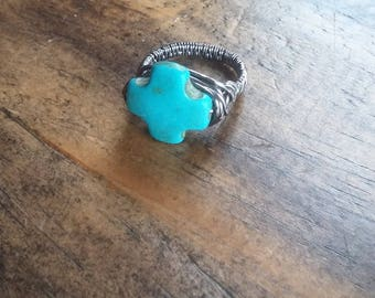 Weaved Turquoise Cross Ring