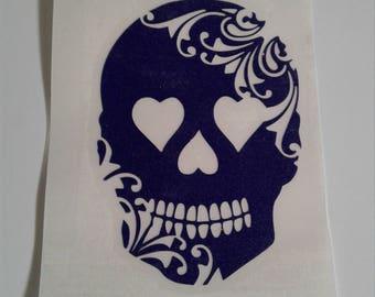 Purple glitter sugar skull vinyl decal