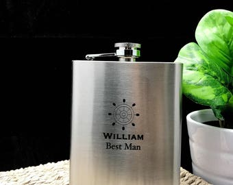 Personalised Engraved Stainless Steel Hip Flask - Will You Be My Groomsmen