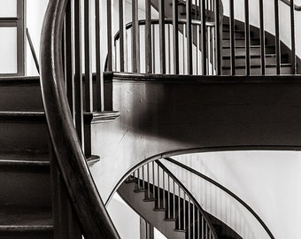 Shaker Stairs, Architecture, Kentucky, Architectural Detail, B&W, Fine Art Photography, Monochrome, Signed Art