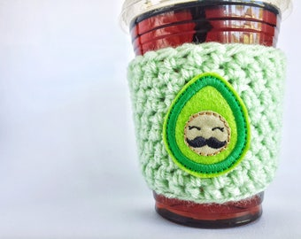 Cup sleeve, coffee cozy, cup cozy, avocado cozy, mustache coffee cozy