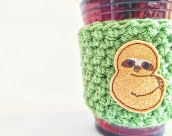 Sloth Cup Sleeve, Sloth Coffee Cozy, Sloth Gift