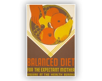 Balanced Diet For Expectant Mother, WPA Poster, Vintage Style Print, Midcentury Promotional Art For Healthy Habits During Pregnancy