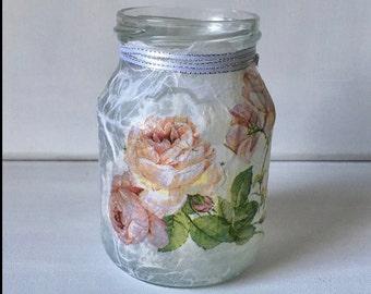 Lantern Shabby Chic roses subtle pattern