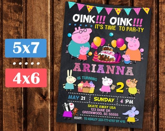 Peppa Pig Invitation, Peppa Pig Birthday, Peppa Pig Party,  Peppa Pig Birthday Printable invite,  Girl Peppa Pig invite.