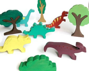 Wooden dinosaurs toy set with wooden trees - waldorf animal toy figures