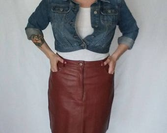 Vintage Mauve Plus Size Leather Skirt