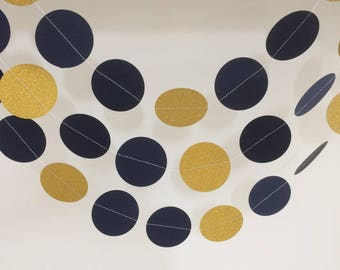 Navy and Gold Circle Garland , Decor, Party Decor, Weddings, Celebrations,