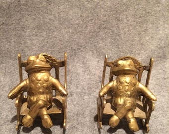 Pair Vintage Brass Frogs In Rocking Chairs