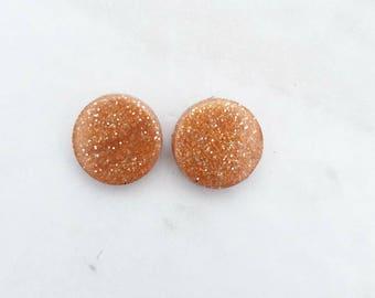 Small Copper Glitter Stud Earrings