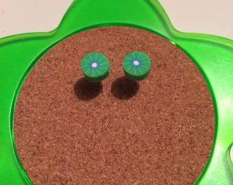 Handmade kiwi fruit stud earrings
