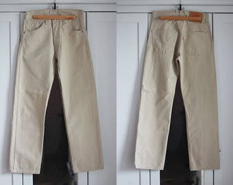 Levi's 551 Jeans Vintage High Waisted Denim Trousers Classic Fit Beige Color Unisex Men Women Clothing High Fashion / W27 / Small size