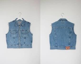 Vintage Denim Vest Mustang Jeans Vintage Classic Blue Zip Top Sleeveless 80s 90s Oldschool Look Retro Women Men Unisex / Medium Size