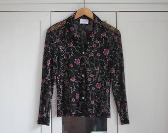 Vintage Blouse Black See through Floral Top Flower Pattern Pink Purple Women Girly Sexy Retro Button Down Shirt / Small Size