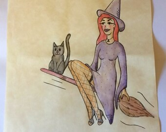 Watercolour Pinup Girl Witch, A4 Original Illustration, One of a Kind, Hand Drawn, Parchment Paper