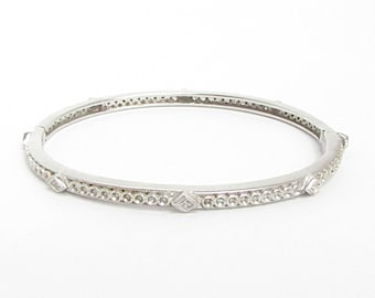 0.80ctw Genuine Diamonds in 925 Sterling Silver Bangle Bracelet - B007 (!!!OFFERS ACCEPTED!!!)