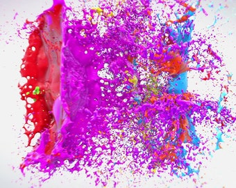 End screen video intro or outro, Collision of drops of paint, logo