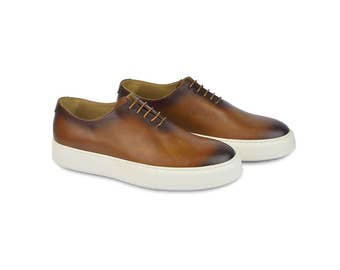 Low Calf Leather Oxford Sneakers-echo