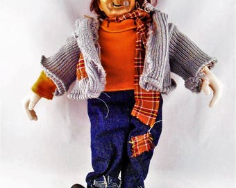 "Porcelain Hobo Clown Anco Doll w Rag Clothes Cigar Red Nose 15"" Tall"