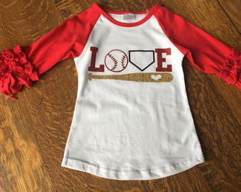Baseball Shirt, Softball Shirt, Ruffle Raglan, Love Shirt, Girls Baseball Shirt, Girls Softball Shirt, Sports Shirt, Cheer Bow