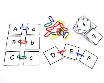 ABC Cards with Jumbo Plastic Links Montessori Preschool Busy Bag