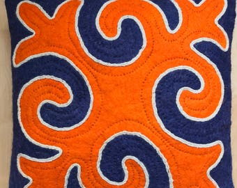 "Orange-Blue Handmade Nomadic pillow ""Safiya"""