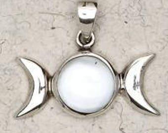 Sterling Silver Triple Moon Pendant