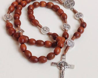 St benedict wooden rosary handcrafted in Medjugorje.catholic rosary.saint Benedict medal.exorcism protection.catholic man gift.