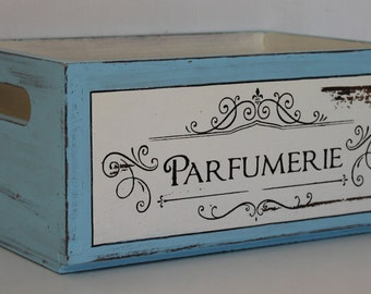 Vintage style wood storage box, solid wood furniture, shabby style decoration