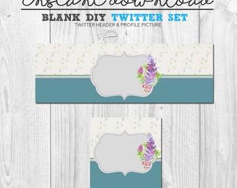 premade twitter set, blank diy social media twitter page design, blue floral twitter cover header banner image set, diy twitter set package