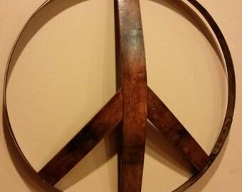 Wine barrel peace sign